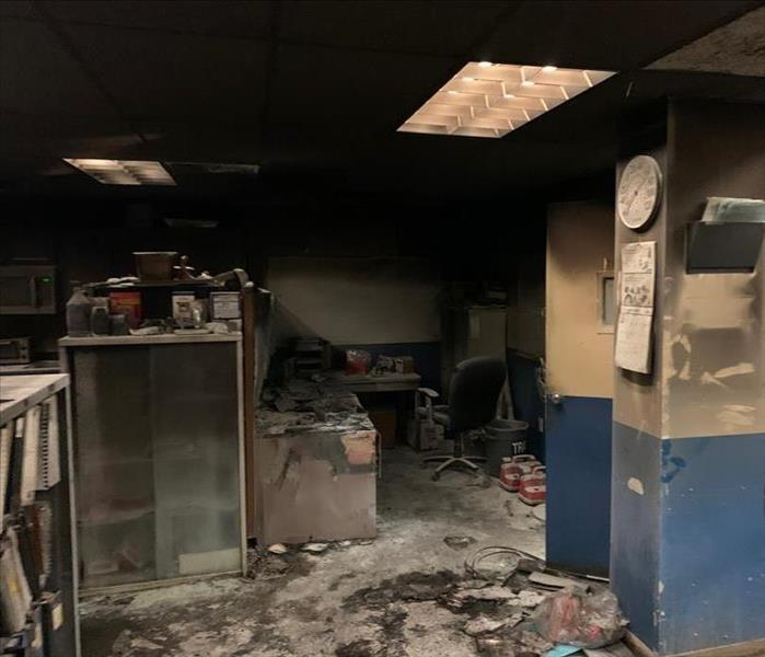 Office space that is damaged from fire and soot.