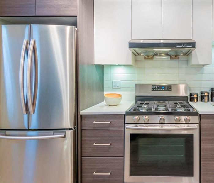 Stainless Steel appliances in a kitchen.