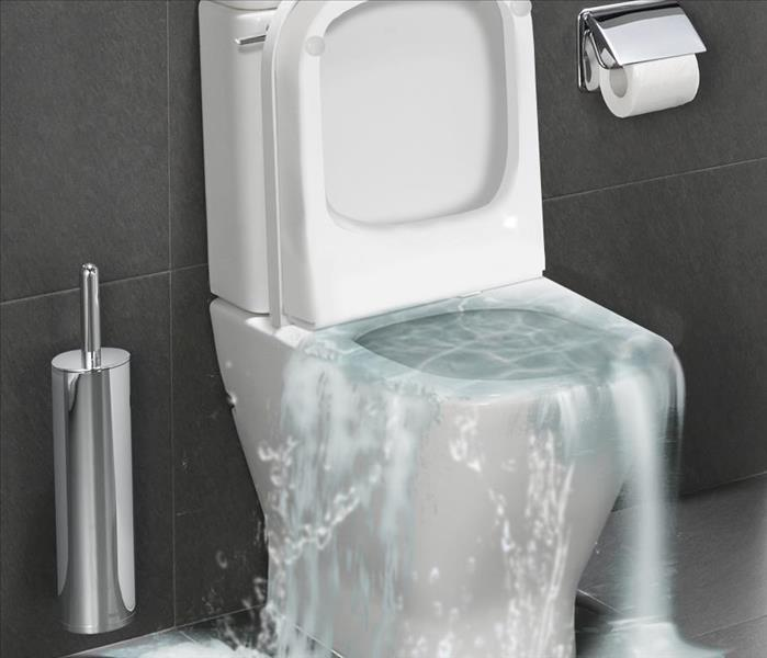 a white toliet overflowing with water.
